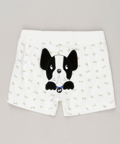 Short-Infantil-Cachorro-com-Estampa-de-Patinhas-e-Ossinhos-em-Algodao---Sustentavel-Off-White-8941308-Off_White_1