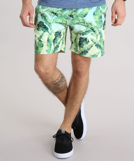 Bermuda-Masculina-Estampada-de-Folhagem-com-Bolsos-Verde-Claro-9134182-Verde_Claro_1
