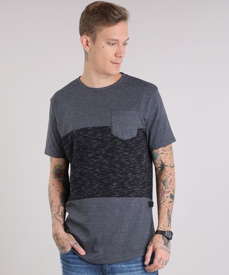 Camiseta-Masculina-Recortes-com-Bolso-Manga-Curta-Gola-Careca-Cinza-Mescla-Escuro-9147925-Cinza_Mescla_Escuro_1