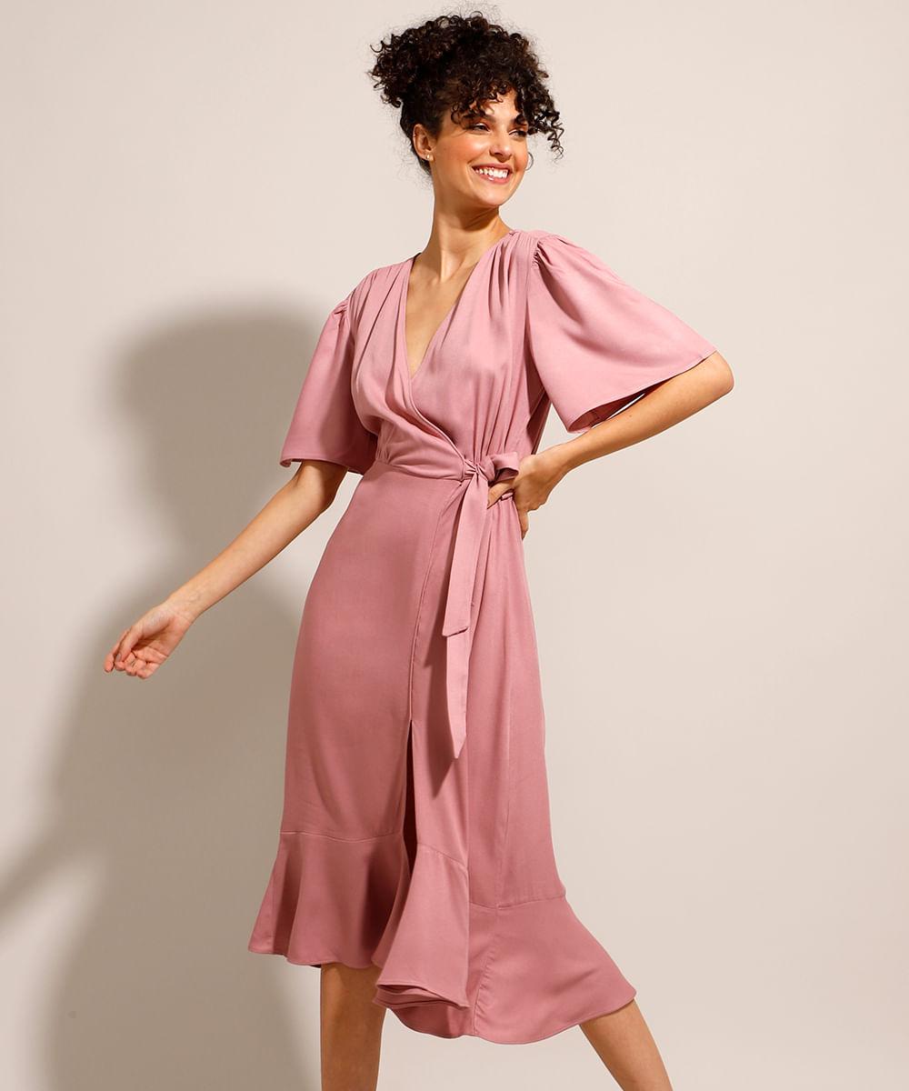 Vestido de Viscose com Transpasse e Fenda Midi Manga Curta Ampla Rosê
