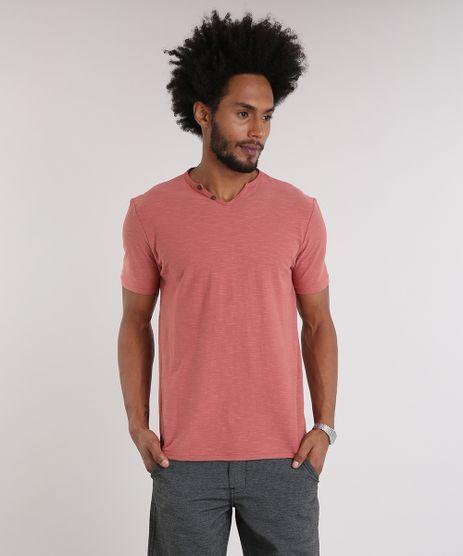 Camiseta-Masculina-com-Botoes-Manga-Curta-Gola-V-Coral-9198346-Coral_1