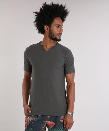 Camiseta-Masculina-com-Botoes-Manga-Curta-Gola-V-Chumbo-9198346-Chumbo_1