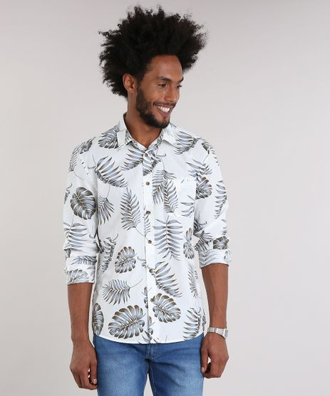 Camisa-Masculina-Estampada-de-Folhagem-com-Bolso-Manga-Longa-Off-White-8931179-Off_White_1