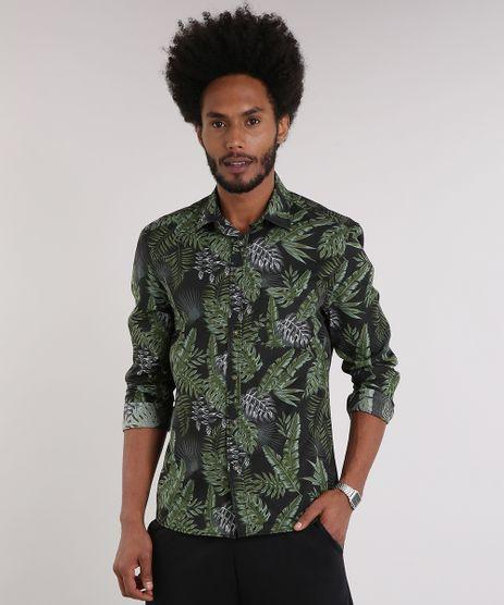 Camisa-Masculina-Estampada-de-Folhagem-com-Bolso-Manga-Longa-Preta-9082962-Preto_1