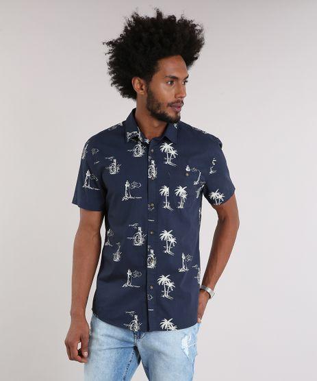 Camisa-Masculina-Estampada-com-Bolso-Manga-Curta-Azul-Marinho-9082963-Azul_Marinho_1