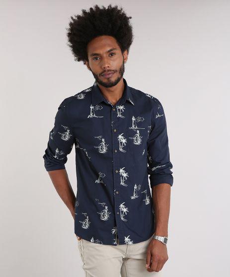 Camisa-Masculina-Estampada-com-Bolso-Manga-Longa-Azul-Marinho-9082961-Azul_Marinho_1