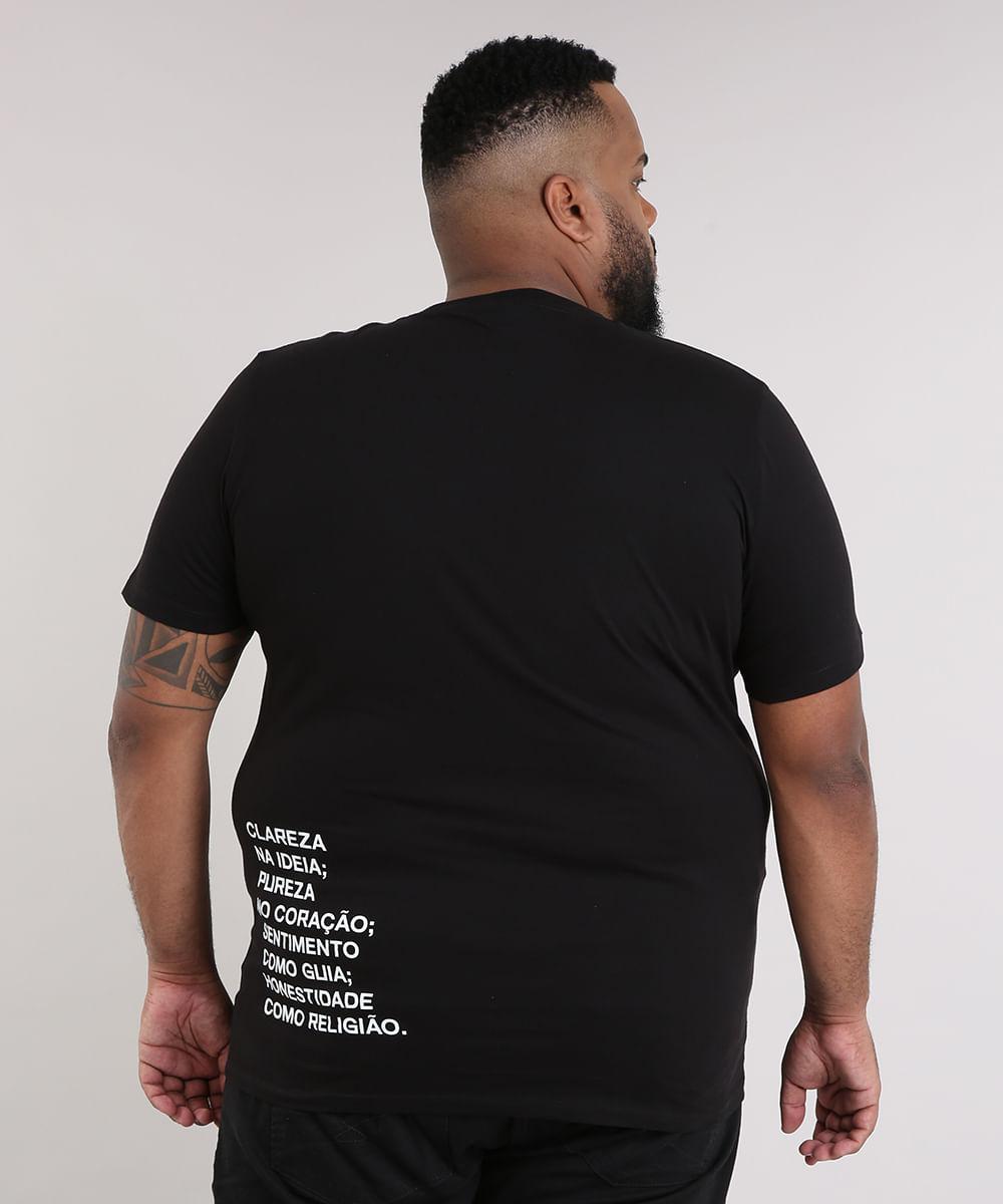 bce9cfb877e1b Camiseta Masculina LAB Manga Curta Gola Careca Preta - cea