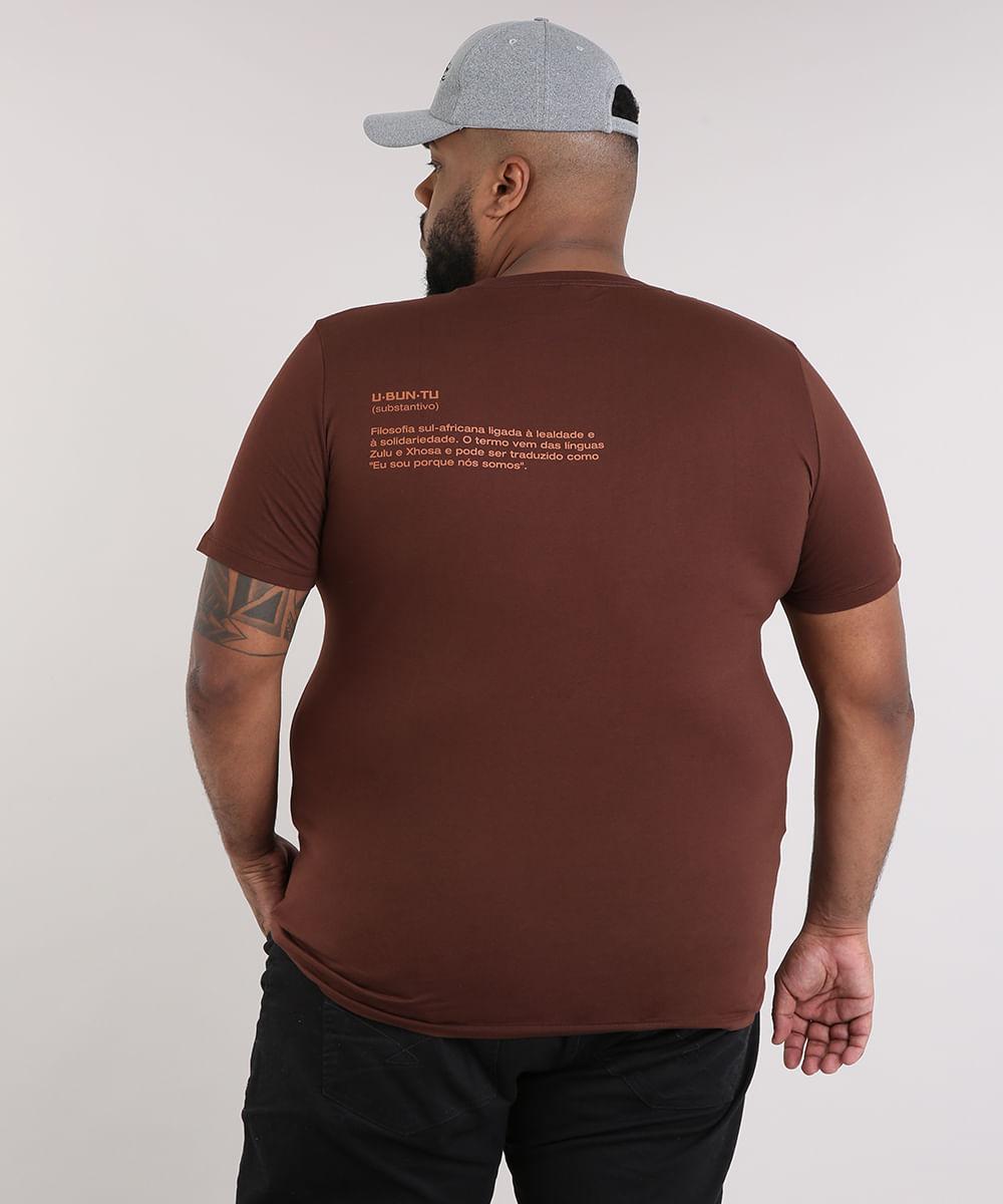 Camiseta Masculina LAB Ubuntu Manga Curta Gola Careca Marrom. Vendido e  entregue por. C A. Produto indisponível. Cor  Marrom 65be12ad905