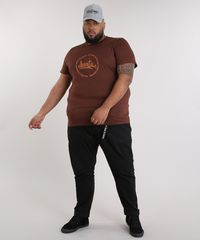 Camiseta Plus Size Masculina LAB Ubuntu Manga Curta Gola Careca ... 9c44d82a772