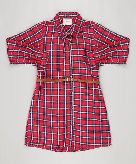 Vestido-Chemise-Xadrez-Manga-Longa-com-Cinto-Vermelha-9170669-Vermelho_1