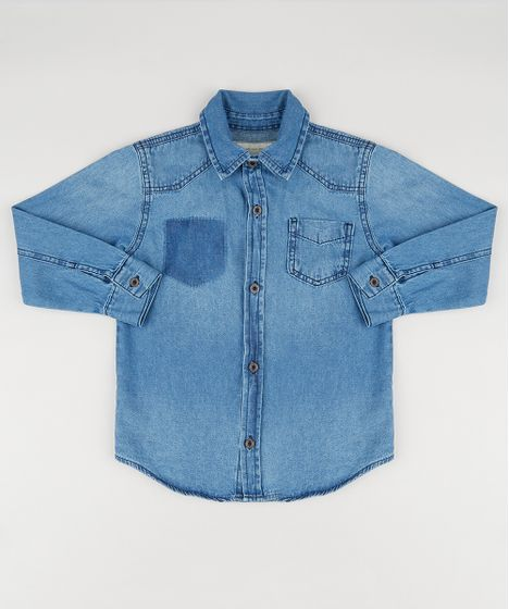 438a14f529ff4 Camisa Jeans Infantil Manga Longa com Bolso Azul Escuro - cea