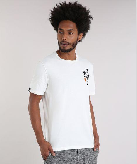 e4dcf765a Camiseta Masculina LAB World Tour Manga Curta Gola Careca Off White ...