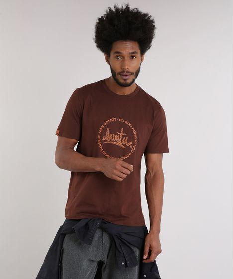 Camiseta Masculina LAB Ubuntu Manga Curta Gola Careca Marrom - cea 3c7a6c8e9ee