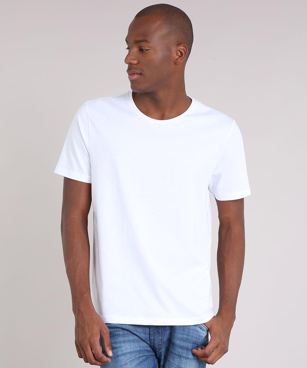 Camiseta Masculina Básica Manga Curta Gola Careca Branca - cea fa21a56cc5c5c