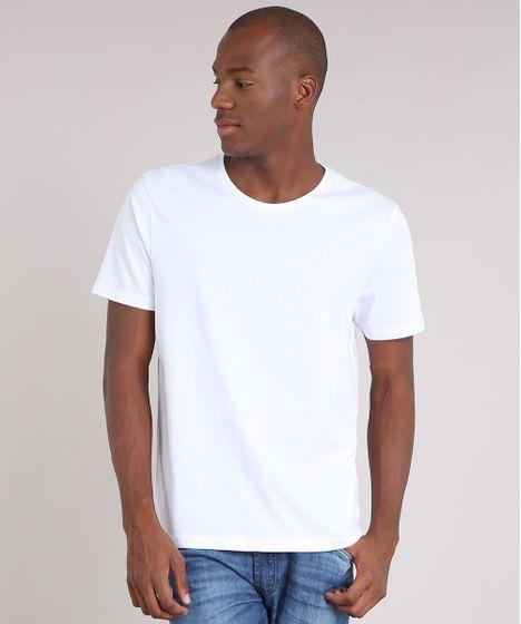 Camiseta Masculina Básica Manga Curta Gola Careca Branca - cea bbe478704ad