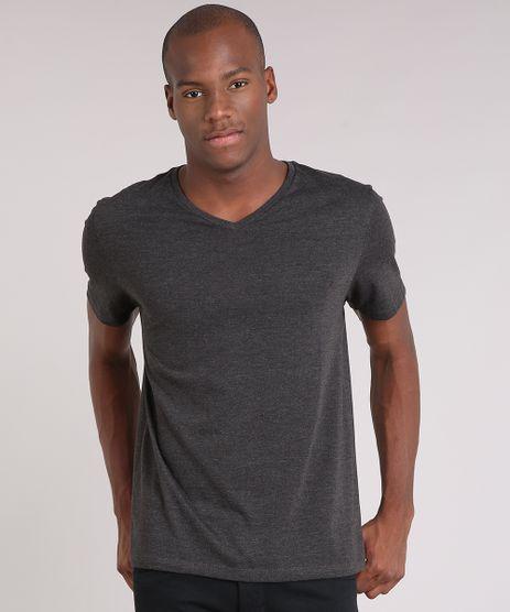 Camiseta-Masculina-Basica-Manga-Curta-Gola-V-Cinza-Mescla-Escuro-8481346-Cinza_Mescla_Escuro_1