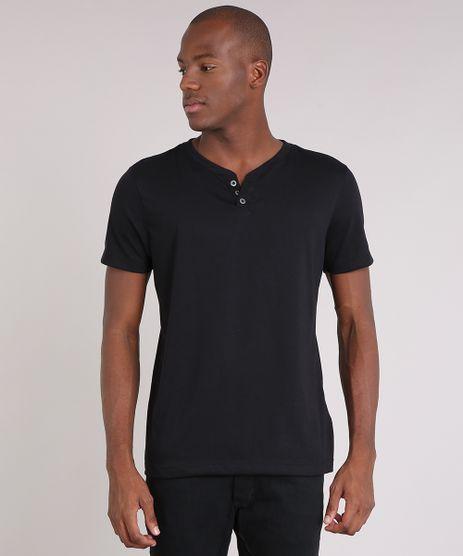 Camiseta-Masculina-Basica-com-Botoes-Manga-Curta-Preta-8170415-Preto_1