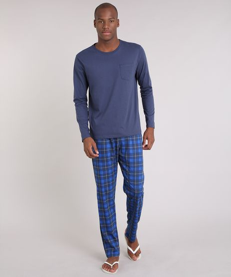 Pijama-Masculino-Xadrez-Manga-Longa-Azul-Marinho-9181194-Azul_Marinho_1
