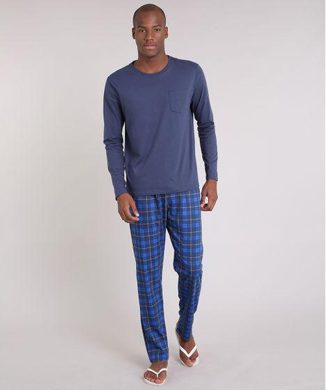 465c18574 Pijama-Masculino-Xadrez-Manga-Longa-Azul-Marinho-9181194- ...