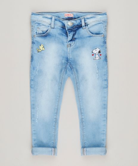 Calca-Jeans-Infantil-com-Bordado-do-Snoopy-Azul-Claro-9183197-Azul_Claro_1