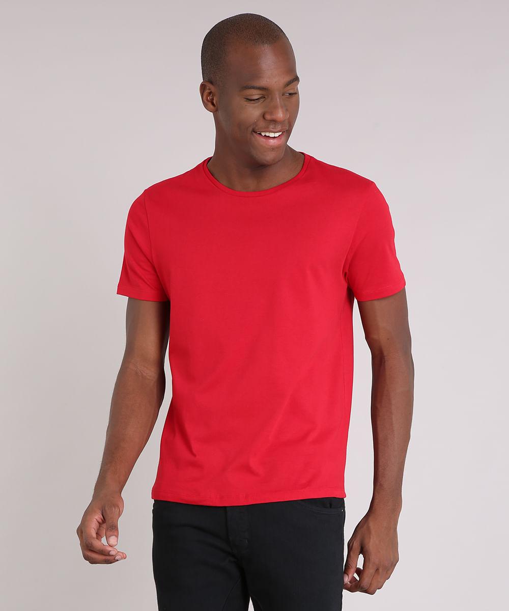 19f3d9cdf Camiseta Masculina Básica Manga Curta Gola Careca Vermelha - cea