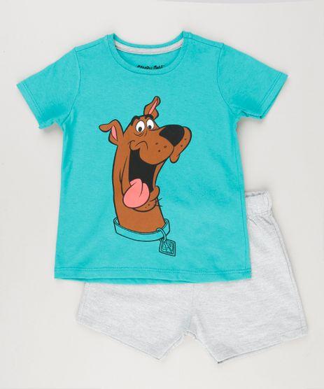 Conjunto-Infantil-de-Camiseta-Manga-Curta-Verde---Bermuda-Scooby-Doo-Cinza-Mescla-8829425-Cinza_Mescla_1
