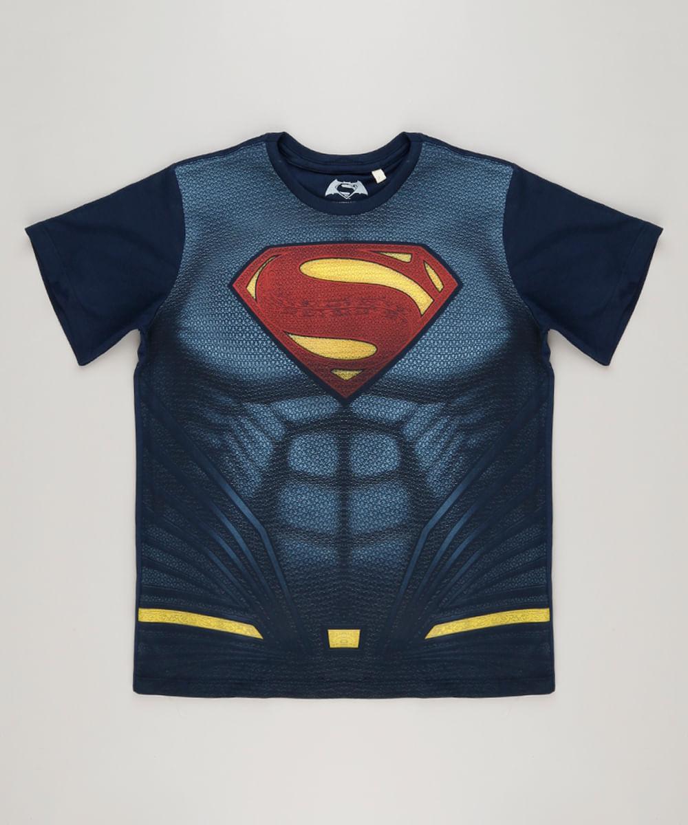 Camiseta Infantil Super Homem Manga Curta Gola Careca Azul Marinho - cea 1320e1a586895