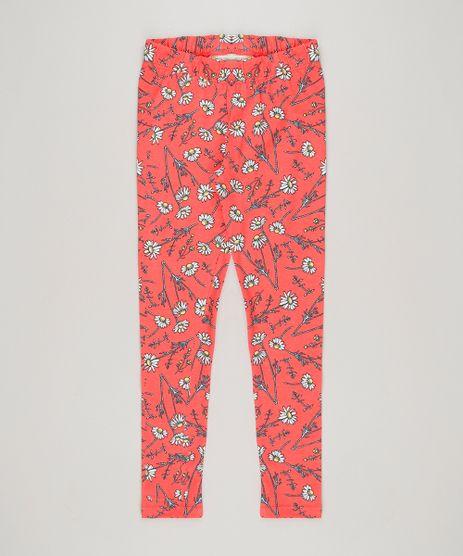 Calca-Legging-Infantil-Estampada-Floral-em-Algodao---Sustentavel-Coral-9222731-Coral_1