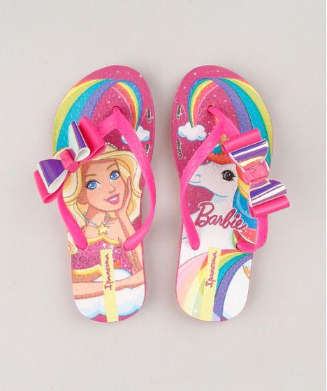 dbe4bb8402089 Chinelo Infantil Ipanema Estampado Barbie e Unicórnio com Laço Rosa ...