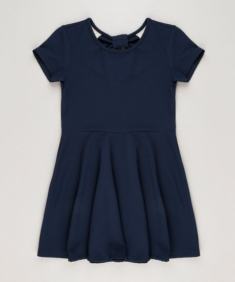 Vestido-Infantil-em-Jacquard-com-Recorte-Manga-Curta-Azul-Marinho-9225846-Azul_Marinho_1