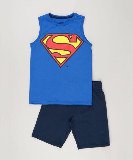 Conjunto-Infantil-de-Regata-Azul-Royal---Bermuda-Super-Homem-em-Moletom-de-Algodao---Sustentavel-Azul-Marinho-9223005-Azul_Marinho_1
