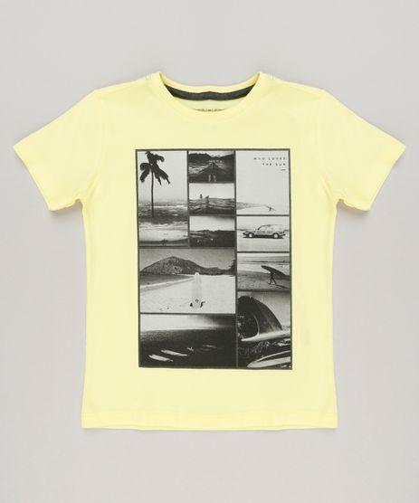 Camiseta-Infantil-Surf-Manga-Curta-Gola-Careca-em-Algodao---Sustentavel-Amarela-9227842-Amarelo_1