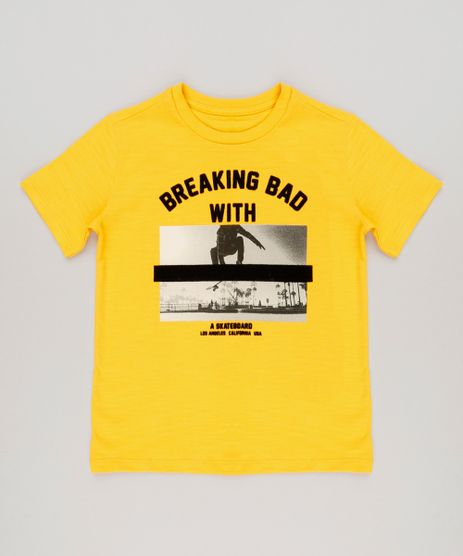 Camiseta-Infantil--Skateboard--Manga-Curta-Gola-Careca-em-Algodao---Sustentavel-Amarela-9227521-Amarelo_1
