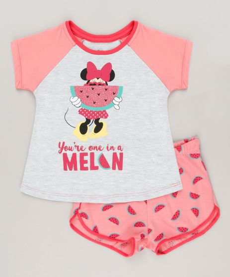 Pijama-Infantil-Minnie-com-Glitter-Manga-Curta-Cinza-Mescla-Claro-9223739-Cinza_Mescla_Claro_1