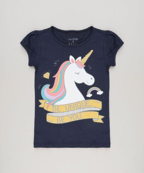 Blusa-Infantil-Unicornio-com-Glitter-Manga-Curta-Decote-Redondo-em-Algodao---Sustentavel-Azul-Marinho-9107643-Azul_Marinho_1