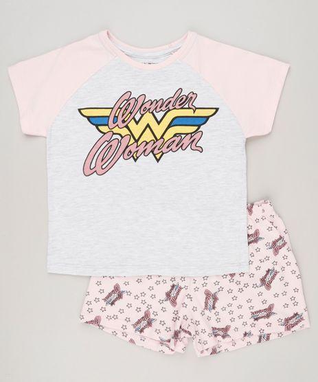 Pijama-Infantil-Mulher-Maravilha-com-Glitter-Manga-Curta-Cinza-Mescla-Claro-9133015-Cinza_Mescla_Claro_1