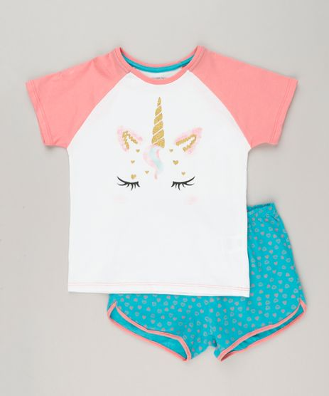 Pijama-Infantil-Unicornio-com-Glitter-Manga-Curta-Off-White-9226381-Off_White_1