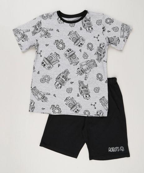 Pijama-Infantil-Estampado-de-Robo-Manga-Curta-Cinza-Mescla-9133493-Cinza_Mescla_1