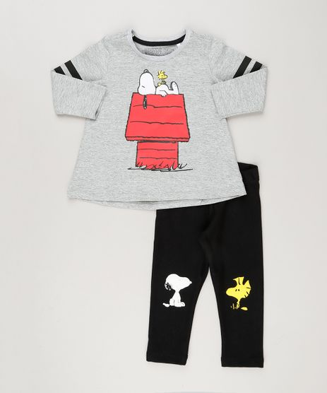 Conjunto-Infantil-Snoopy-de-Blusa-Manga-Longa-Cinza-Mescla---Calca-Legging-Preta-9236609-Preto_1