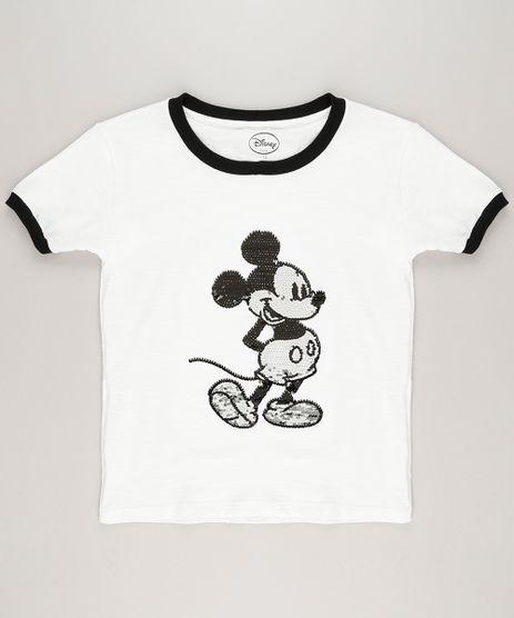 Blusa-Infantil-Mickey-Paete-Dupla-Face-Manga-Curta-Decote-Redondo-em-Algodao---Sustentavel-Off-White-9222497-Off_White_1