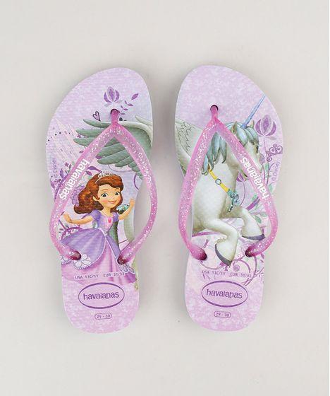 e859991f8 Chinelo Infantil Havaianas Princesa Sofia com Glitter Lilás - cea
