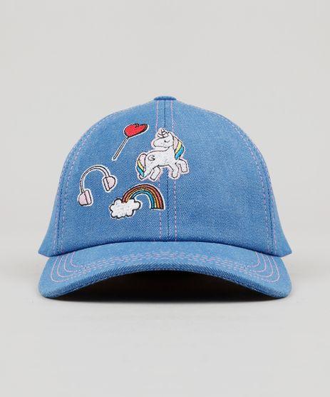 Bone-Infantil-em-Jeans-com-Bordado-Unicornio-Aba-Curva-Azul-Medio-9131270-Azul_Medio_1