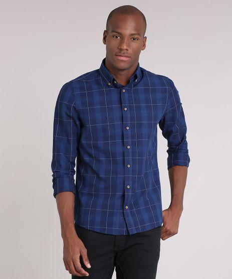 Camisa-Masculina-Comfort-Xadrez-Manga-Longa-Azul-Marinho-9049893-Azul_Marinho_1