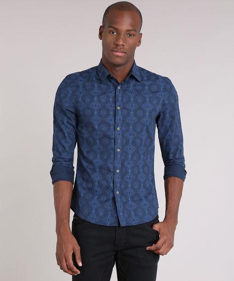 Camisa-Masculina-Slim-Estampada-Manga-Longa-Azul-Marinho-9049895-Azul_Marinho_1