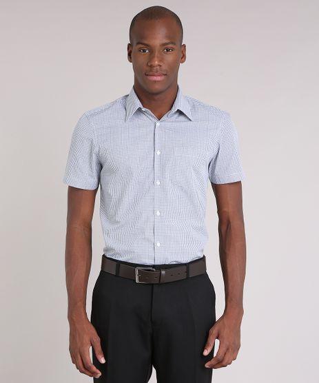 Camisa-Masculina-Comfort-Xadrez-com-Bolso-Manga-Curta-Cinza-8653954-Cinza_1