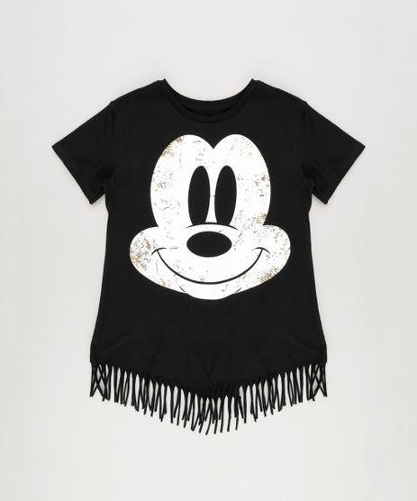 Blusa-Infantil-Mickey-com-Franjas-Manga-Curta-Decote-Redondo-em-Algodao---Sustentavel-Preta-9175395-Preto_1