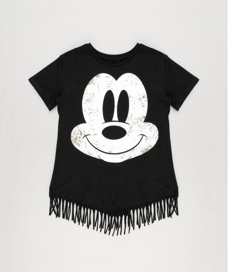 8cb668fdb Blusa Infantil Mickey com Franjas Manga Curta Decote Redondo Preta - cea