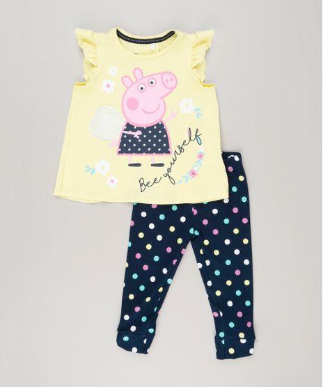 Conjunto-Infantil-de-Blusa-Peppa-Pig-Manga-Curta-Amarela---Calca-Legging-Estampada-de-Poa-em-Algodao---Sustentavel-Azul-Marinho-9079360-Azul_Marinho_1