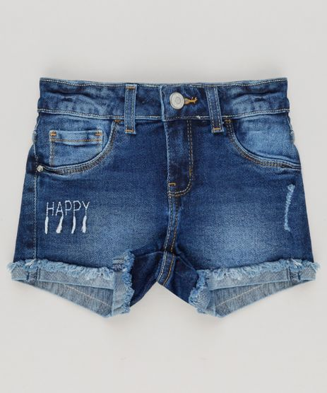 Short-Jeans-Infantil-com-Bordado--Happy--com-Barra-Dobrada-Azul-Escuro-9142714-Azul_Escuro_1