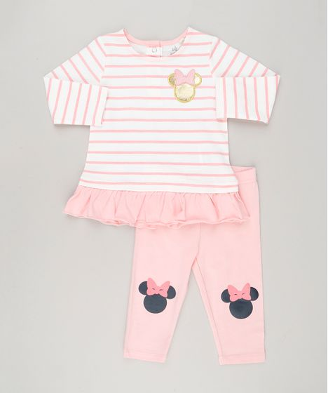 dea3eb77a Conjunto Infantil Minnie de Blusa Listrada Manga Longa + Calça ...